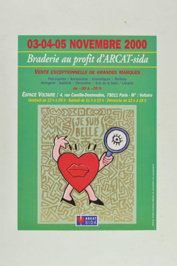 """affiche - """"03-04-05 Novembre 2000. Braderie au profit d'ARCAT-sida"""""""