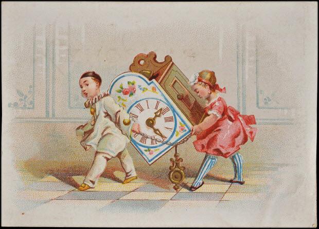 carte réclame - Pierrot et une fillette transportent une pendule