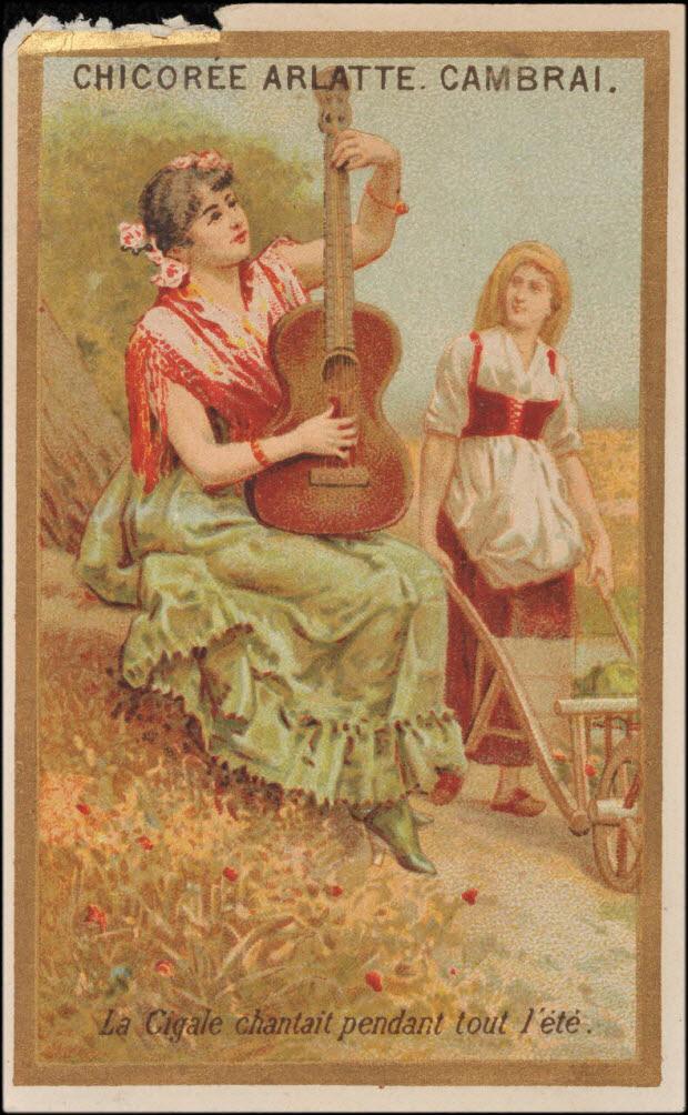 carte réclame - La Cigale chantait pendant tout l'été.