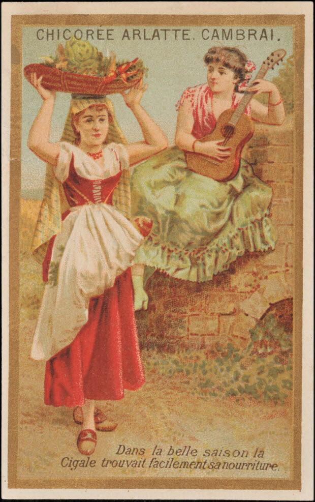 carte réclame - Dans la belle saison la Cigale trouvait facilement sa nourriture.