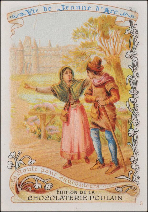 carte réclame - Vie de Jeanne d'Arc En route pour Vaucouleurs.