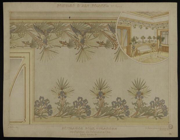 estampe - PEINTURE D'ART NOUVEAU DECORATION POUR VERANDAH