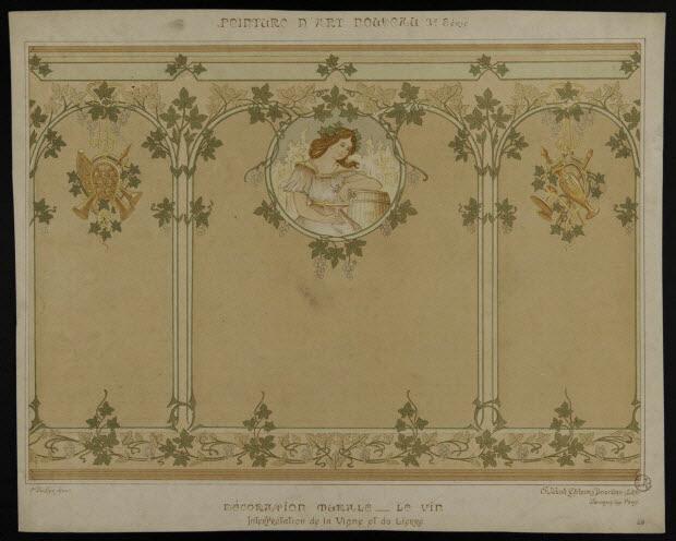 estampe - PEINTURE D'ART NOUVEAU DECORATION MURALE - LE VIN