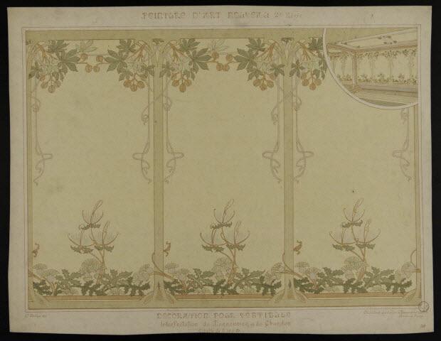 estampe - PEINTURE D'ART NOUVEAU DECORATION POUR VESTIBULE