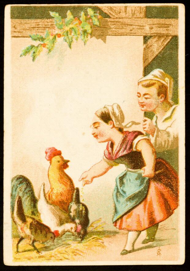 carte réclame - Homme et femme devant des poules et un coq