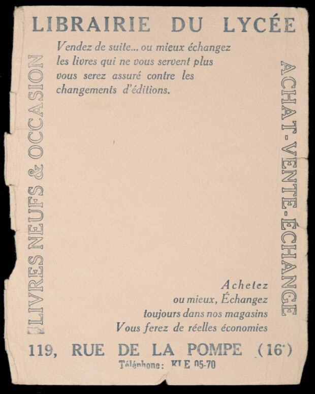 buvard publicitaire - LIBRAIRIE DU LYCEE