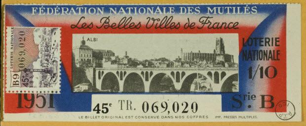 estampe - FEDERATION NATIONALE DES MUTILES Les Belles Villes de France ALBI