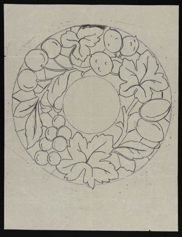 dessin - Modèle de broderie : couronne de fleurs et de feuillages
