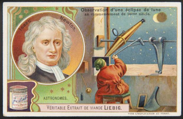 carte réclame - ASTRONOMES. Isaac Newton.