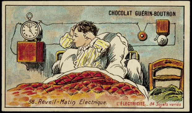 carte réclame - L'ELECTRICITE 58- Réveil-Matin Electrique