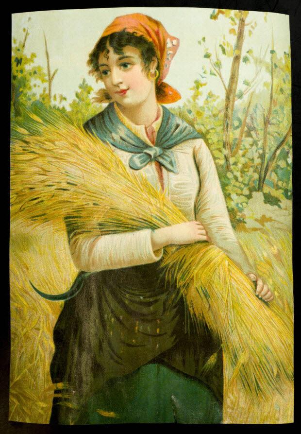 carte réclame - Jeune paysanne pendant les moissons