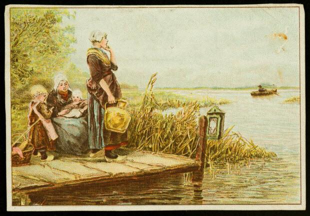 carte réclame - Paysannes au marais