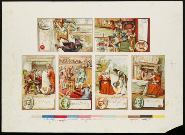 planche de cartes réclames avec références chromatiques - SULLY, CONSEILLER DU ROI