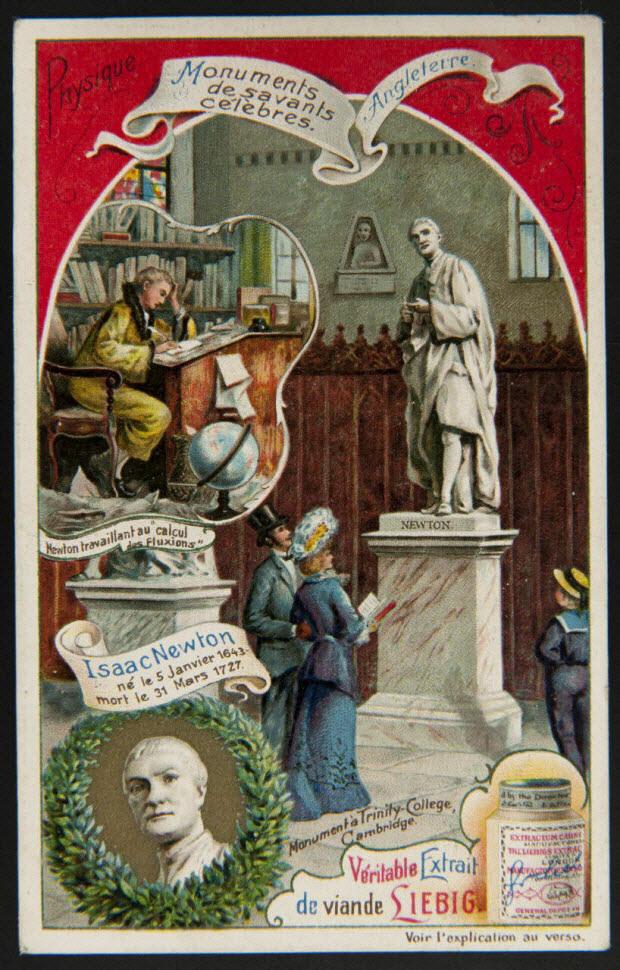 carte réclame - Monuments de savants célèbres. Angleterre Physique Isaac Newton