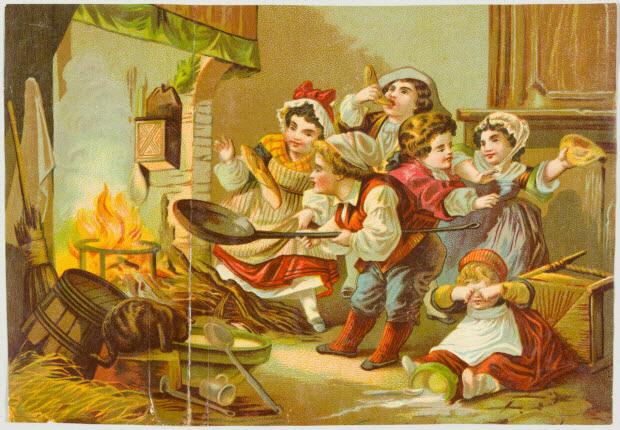 carte réclame - Enfants faisant des crêpes