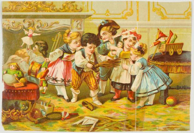 carte réclame - Enfants le matin de Noël