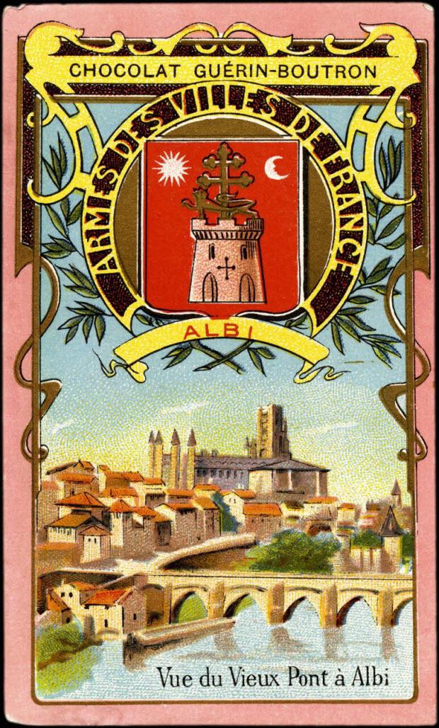 carte réclame - ARMES DES VILLES DE FRANCE ALBI Vue du Vieux Pont à Albi
