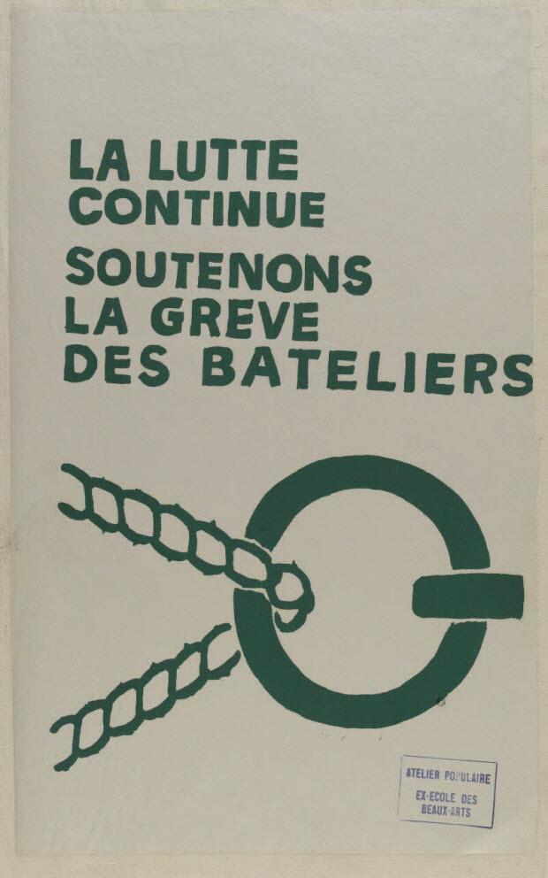 affiche - La lutte continue Soutenons la grève des bateliers