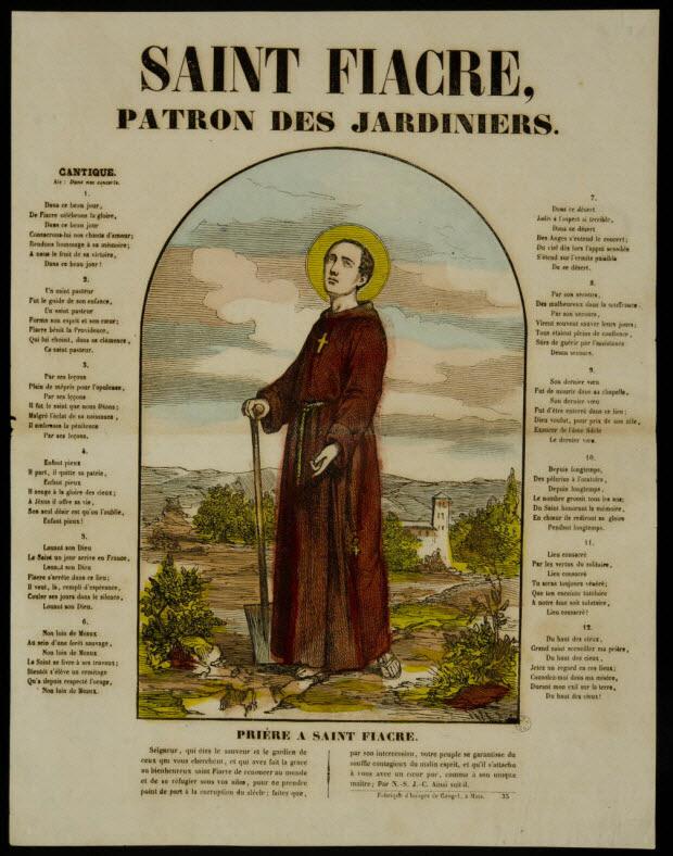 estampe - SAINT FIACRE, PATRON DES JARDINIERS.