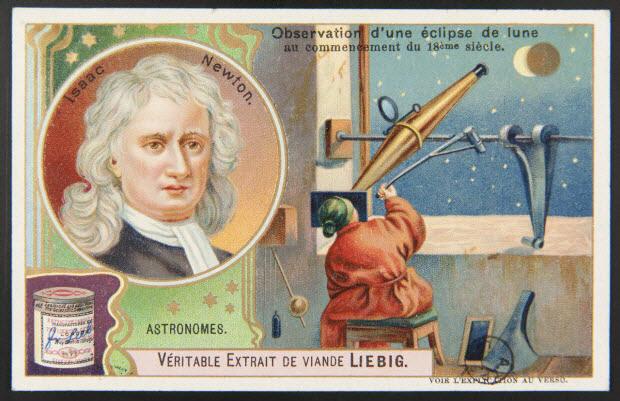 carte réclame - ASTRONOMES. Isaac Newton. (titre inscrit).