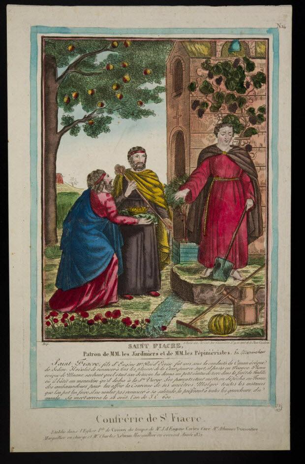 estampe - SAINT FIACRE, Patron de MM. les Jardiniers et de MM. les Pépiniéristes.