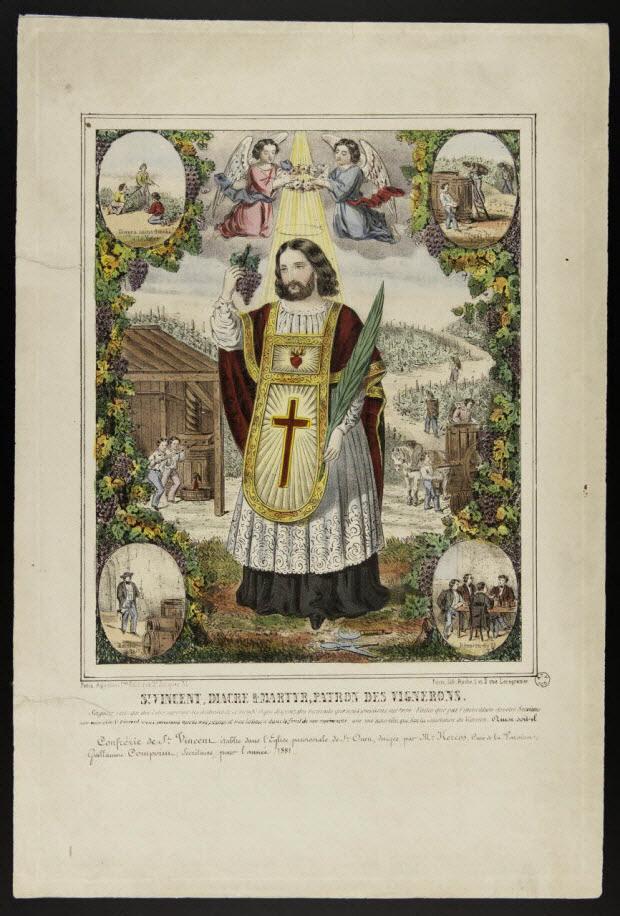 estampe - St VINCENT, DIACRE & MARTYR, PATRON DES VIGNERONS.