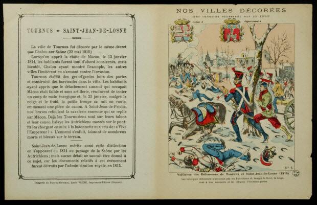 estampe - Vaillance des défenseurs de Tournus et Saint-Jean-de-Losne (1814)