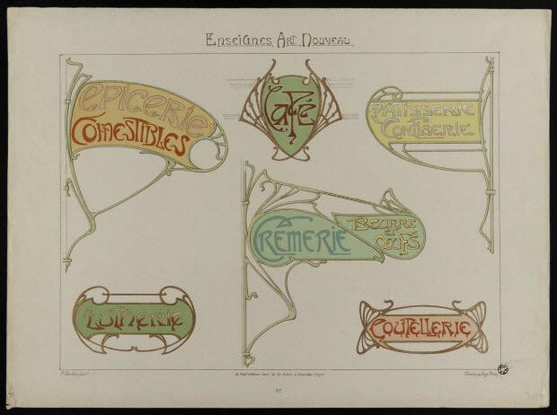 estampe - Enseignes Art Nouveau