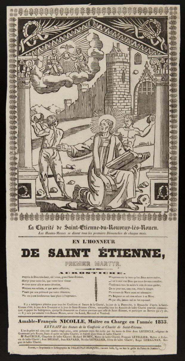 image de confrérie - La Charité de Saint-Etienne-du-Rouvray-lès-Rouen. EN L'HONNEUR DE SAINT ETIENNE