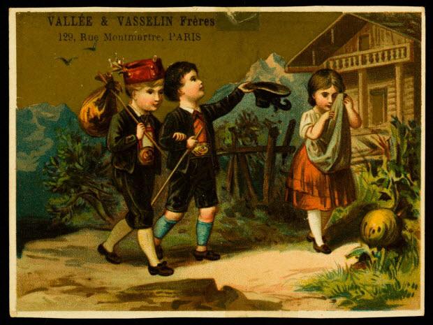 carte réclame - Deux jeunes hommes en costume traditionnel des montagnes partent de leur maison, un balluchon sur le dos, une jeune fille pleure de leur départ