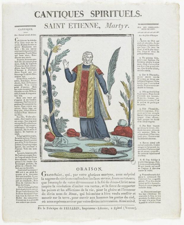 imagerie ancienne - CANTIQUES SPIRITUELS. SAINT ETIENNE, Martyr.