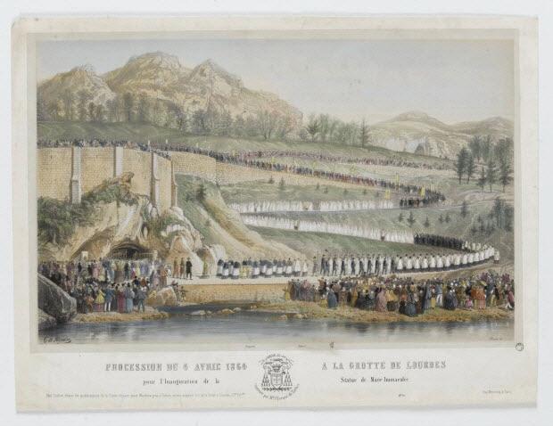 estampe - PROCESSION DU 4 AVRIL 1864 A LA GROTTE DE LOURDES pour l'Inauguration de la Statue de Marie Immaculée.