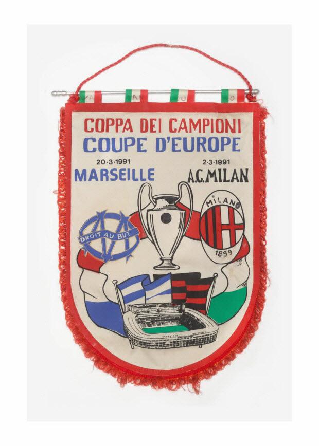 fanion-souvenir - Fanion du match Olympique de Marseille - Milan AC du 20 mars 1991