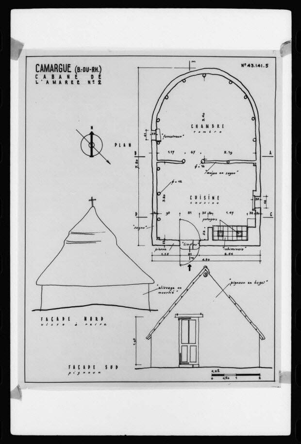 photographie - Plan d'architecte de bâtisse en Camargue