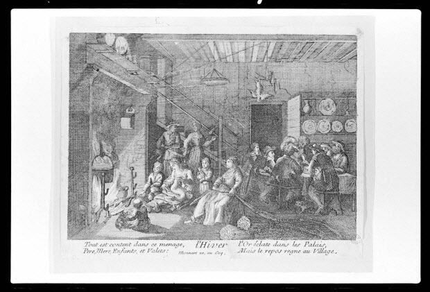 """photographie - Estampe accompagnée d'un texte représentant une veillée hivernale. Datée du 17è siècle. """"L'hiver tout est content"""". Cuivre noir et blanc. Chez Bonnart"""