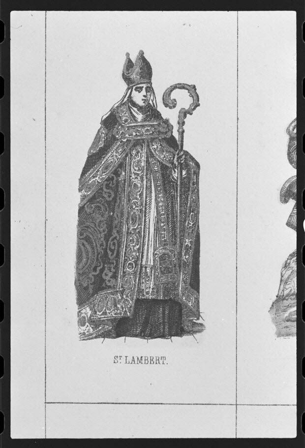 photographie - Estampe représentant saint Lambert en costume d'évêque (32 vignettes). Lithographie couleur et dorée. Maison Pellerin à Epinal