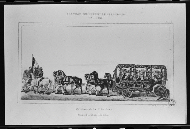 photographie - Estampe représentant un défilé, datée de 1840. Lithographie couleur. Maison Pellerin à Epinal