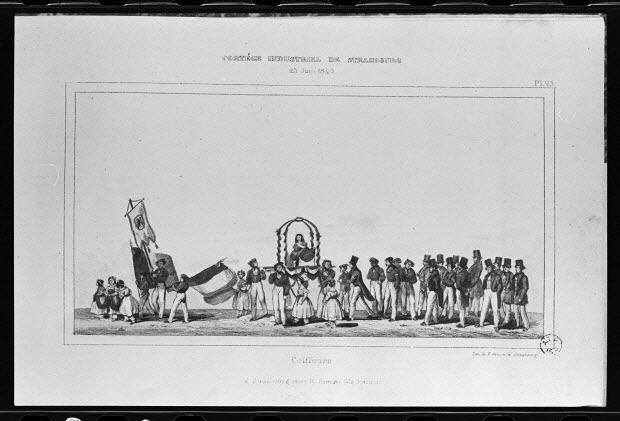 """photographie - Estampe représentant un coiffeur dans un défilé, datée de 1840. """"Cortège industriel de Strasbourg"""". Lithographie couleur. Maison Simon fils"""