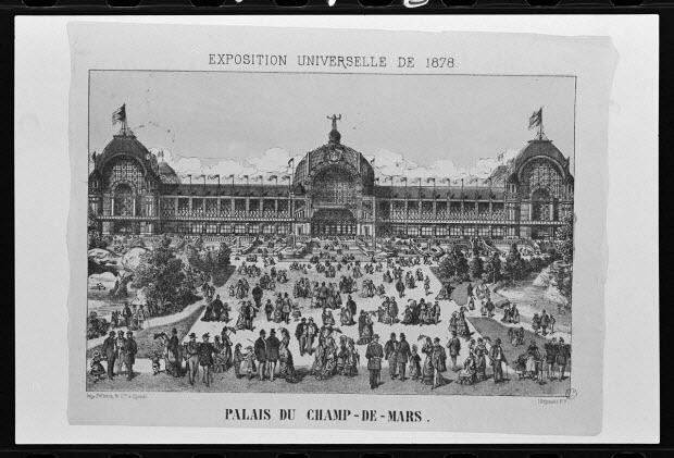 photographie - Estampe représentant l'exposition de 1878. Lithographie. Maison Pellerin à Epinal