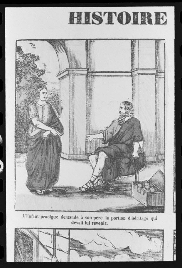 """photographie - Estampe accompagnée d'un texte représentant le mythe de l'enfant prodigue, datée de 1835. """"L'enfant prodigue demande à son père.."""". Bois couleur. Maison Pellerin à Epinal"""