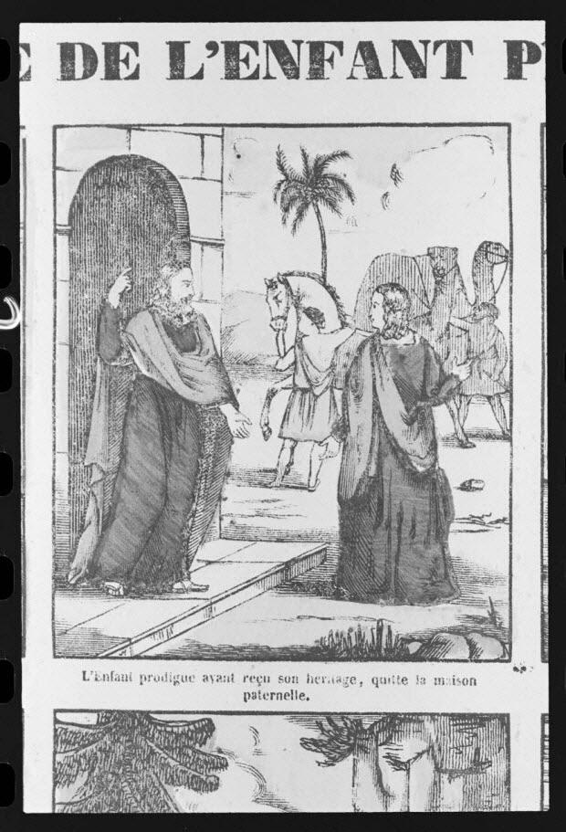 """photographie - Estampe accompagnée d'un texte représentant le mythe de l'enfant prodigue, datée de 1835. """"Départ de l'enfant prodigue"""". Bois couleur. Maison Pellerin à Epinal"""