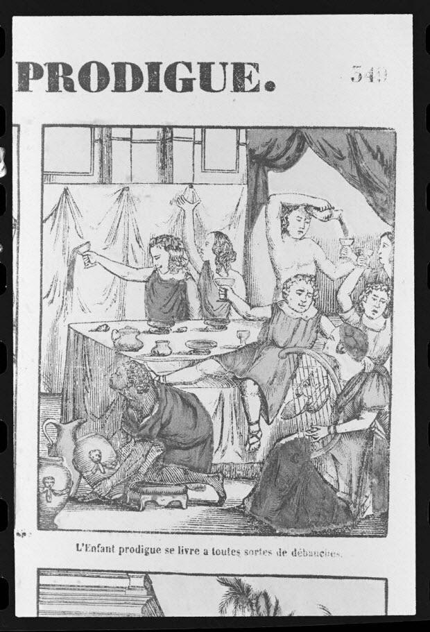 """photographie - Estampe accompagnée d'un texte représentant le mythe de l'enfant prodigue, datée de 1835. """"Débauche"""". Bois couleur. Maison Pellerin à Epinal"""
