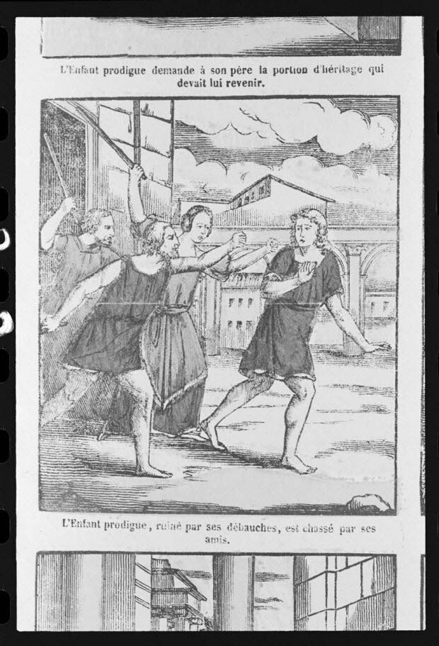 """photographie - Estampe accompagnée d'un texte représentant le mythe de l'enfant prodigue, datée de 1835. """"Ruiné et chassé par ses amis"""". Bois couleur. Maison Pellerin à Epinal"""