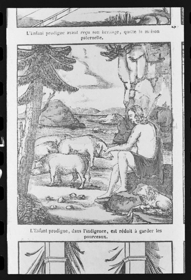 """photographie - Estampe accompagnée d'un texte représentant le mythe de l'enfant prodigue, datée de 1835. """"Garde les pourceaux"""". Bois couleur. Maison Pellerin à Epinal"""