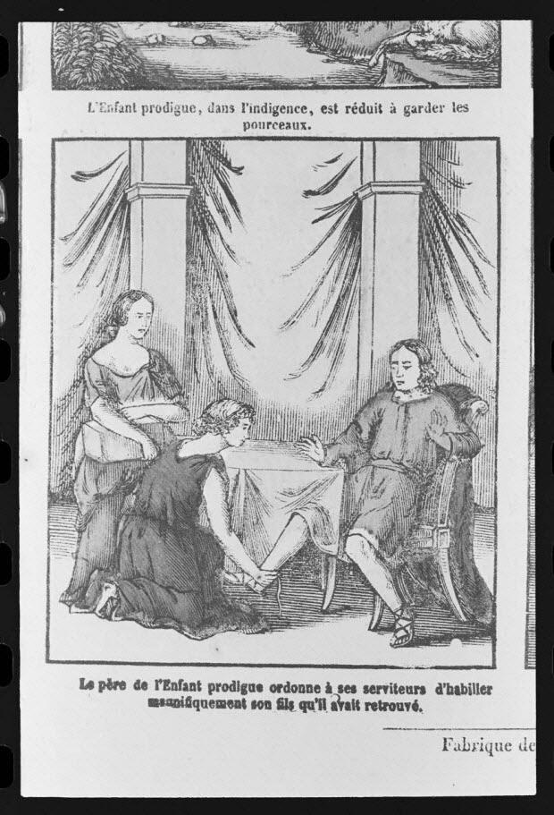 """photographie - Estampe accompagnée d'un texte représentant le mythe de l'enfant prodigue, datée de 1835. """"Le retour du fils prodigue"""". Bois couleur. Maison Pellerin à Epinal"""