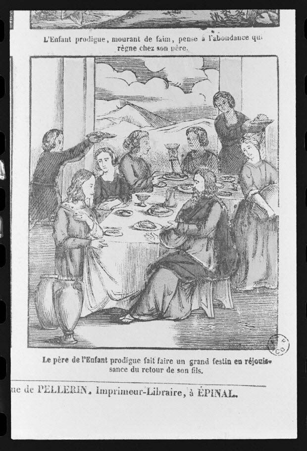 """photographie - Estampe accompagnée d'un texte représentant le mythe de l'enfant prodigue, datée de 1835. """"La fête du retour du fils prodigue"""". Bois couleur. Maison Pellerin à Epinal"""