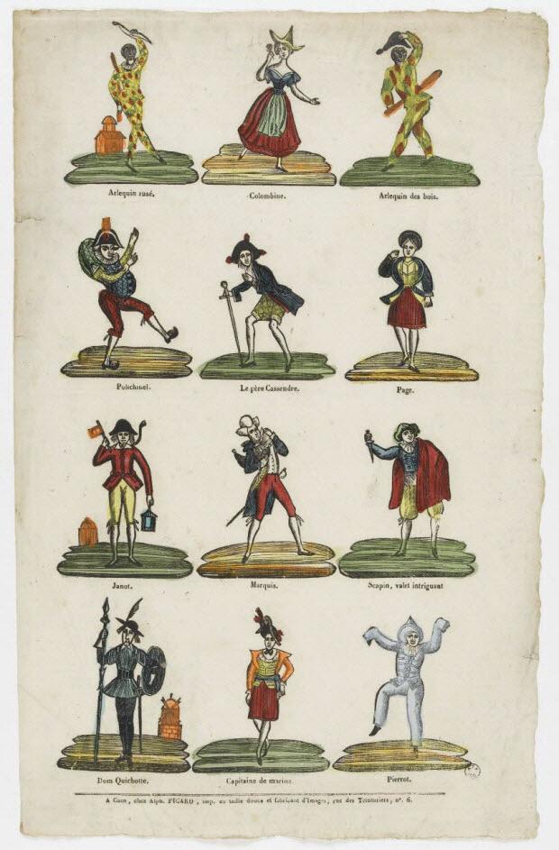 imagerie ancienne - Personnages de la commedia dell'arte
