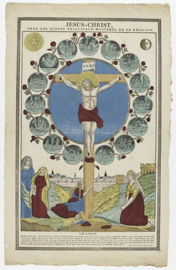 imagerie ancienne - JESUS-CHRIST, ORNE DES QUINZE PRINCIPAUX MYSTERES DE LA RELIGION.