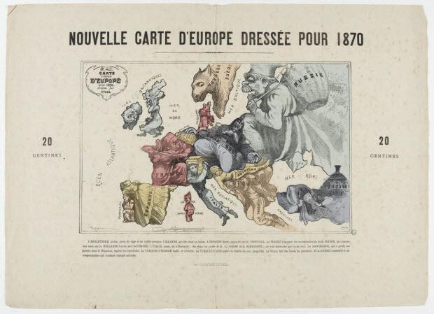 carte de géographie - NOUVELLE CARTE D'EUROPE DRESSEE POUR 1870