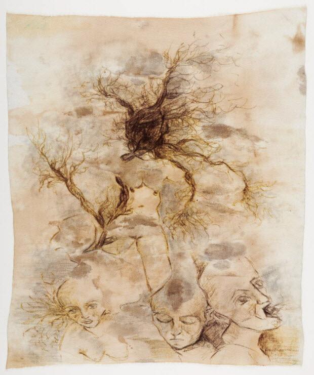 dessin - Femme-arbre et visages d'expression
